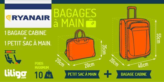 dimension bagage à main avion ryanair