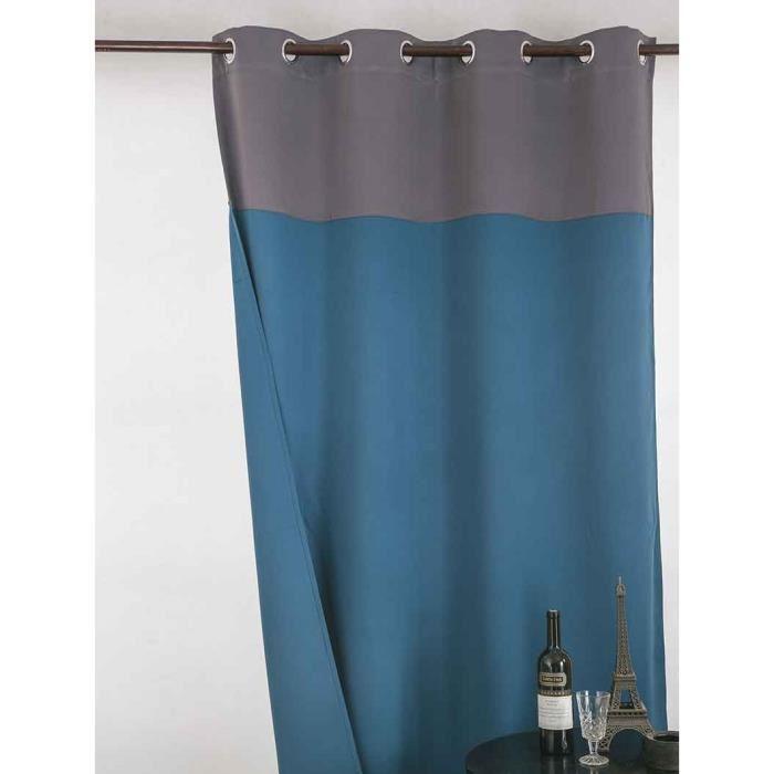 rideau bleu gris