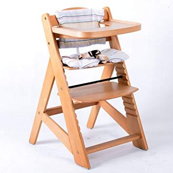chaise haute bébé en bois