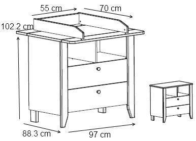 dimension table à langer