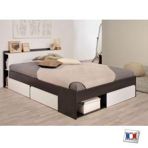 lit avec tête de lit rangement 160 x 200