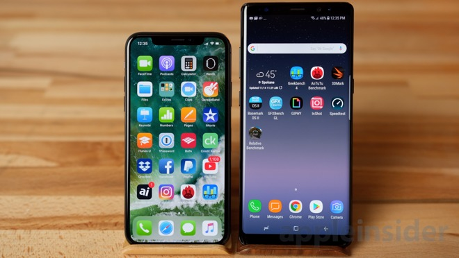 note 8 vs iphone x